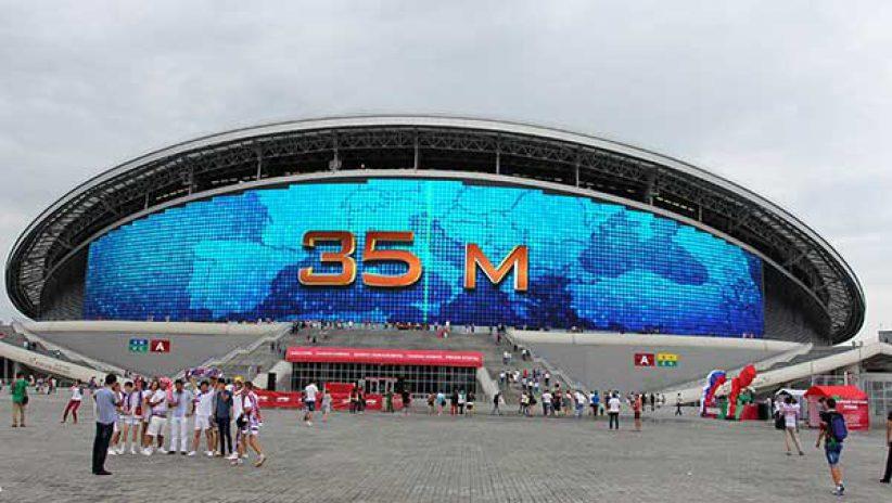 Светодиодный медиафасад на стадионе