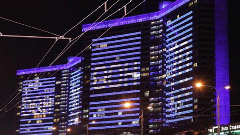 Светодиодное освещение на здании ООН
